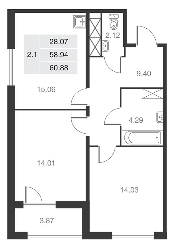 Планировка Двухкомнатная квартира площадью 58.94 кв.м в ЖК «MASTER на Серебристом бульваре 19»