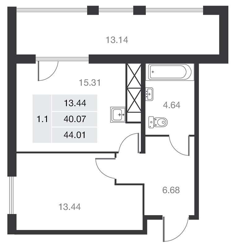 Планировка Однокомнатная квартира площадью 40.07 кв.м в ЖК «MASTER на Серебристом бульваре 19»