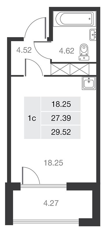 Планировка Студия площадью 27.39 кв.м в ЖК «MASTER на Серебристом бульваре 19»