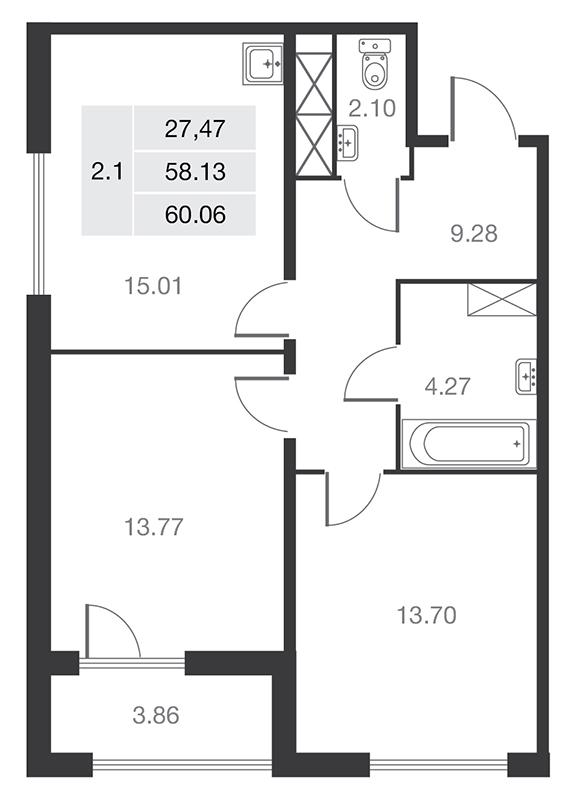 Планировка Двухкомнатная квартира площадью 58.13 кв.м в ЖК «MASTER на Серебристом бульваре 19»
