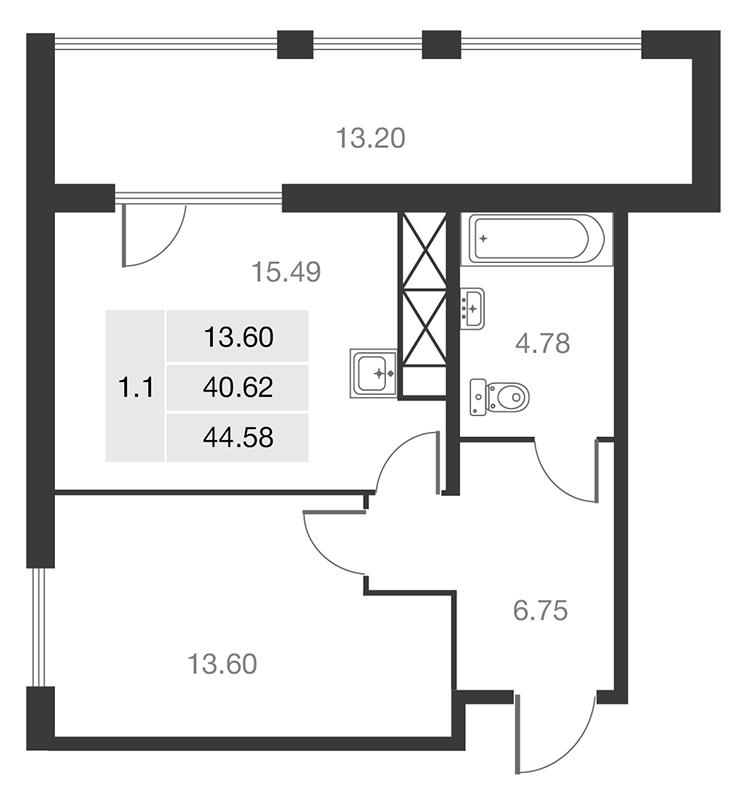Планировка Однокомнатная квартира площадью 40.62 кв.м в ЖК «MASTER на Серебристом бульваре 19»