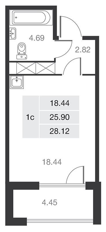 Планировка Однокомнатная квартира площадью 25.9 кв.м в ЖК «MASTER на Серебристом бульваре 19»