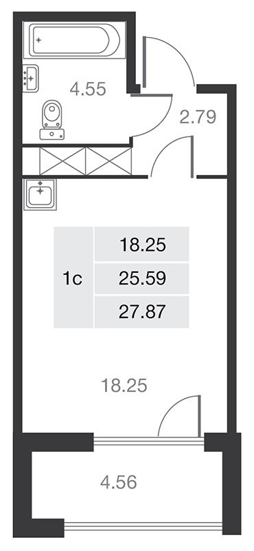 Планировка Студия площадью 25.59 кв.м в ЖК «MASTER на Серебристом бульваре 19»
