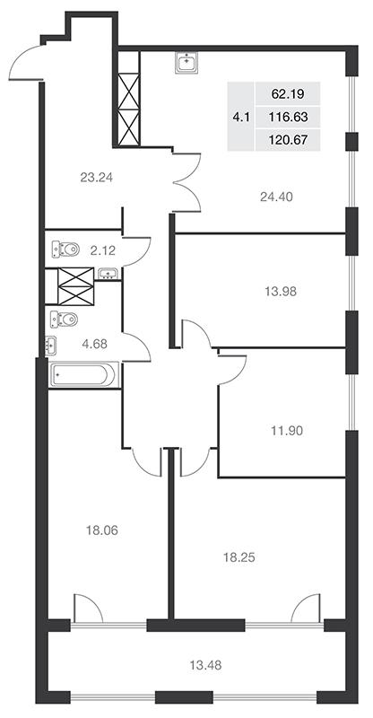 Планировка Четырёхкомнатная квартира площадью 116.63 кв.м в ЖК «MASTER на Серебристом бульваре 19»